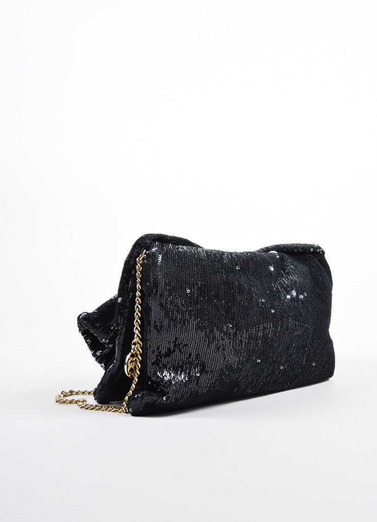 Red Valentino Black Sequin Bow Chain Shoulder Bag Sideview