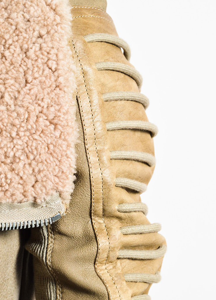 "Rick Owens ""Camel"" Tan Shearling Leather Zip Front Moto Jacket Detail"