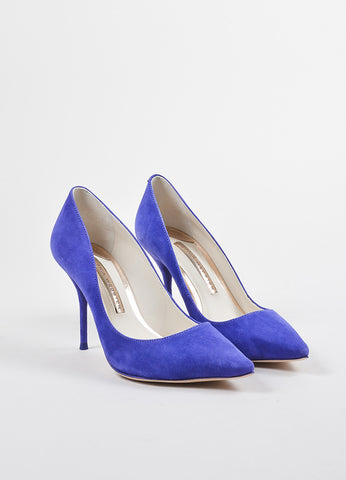 "Sophia Webster Blue-Purple Suede Pointed Toe ""Lola"" Pumps Front"