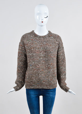 "Brown Wool Stella Jean ""Irvine Knit"" Speckled Sweater Frontview"