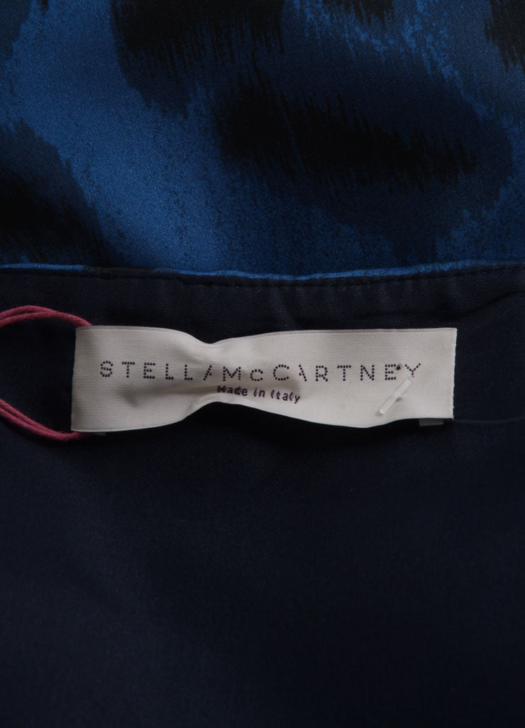 Stella McCartney New With Tags Blue and Black Silk Leopard Print Sleeveless Dress Brand