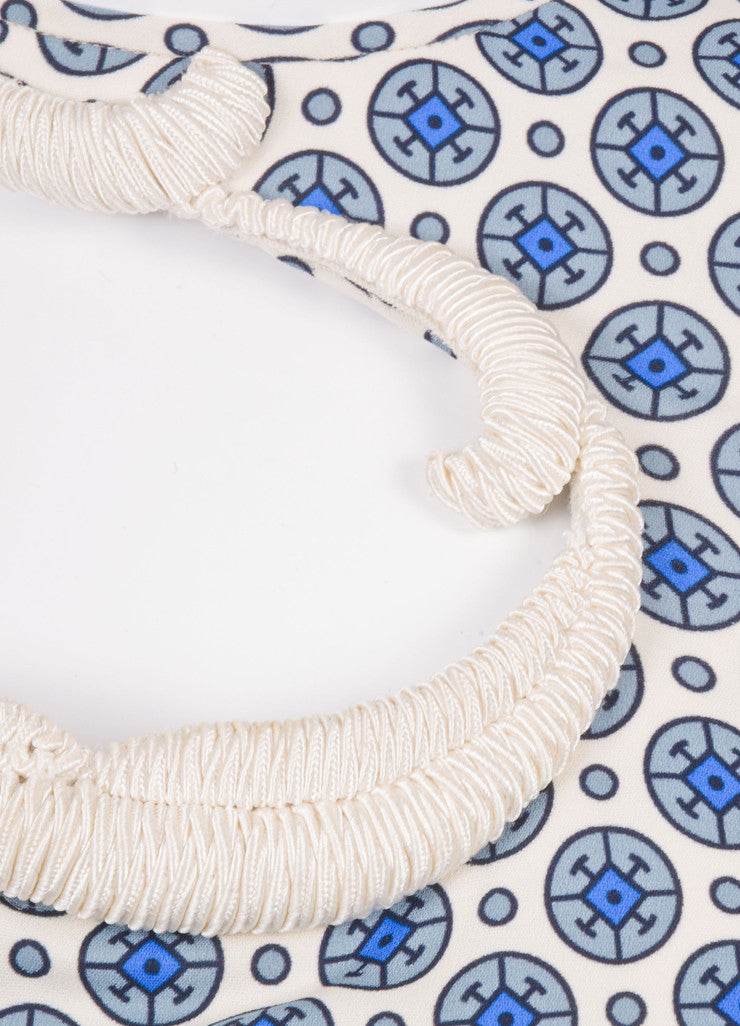 Stella McCartney White and Blue One Sleeve Dress Detail