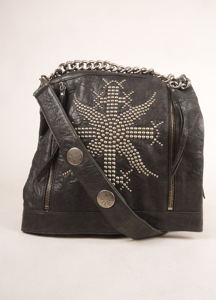 Thomas Wylde Black and Silver Toned Leather Studded Fold Over Shoulder Bag Frontview