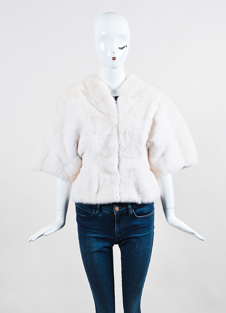 Tuleh Cream Mink Fur Oversized Short Sleeve Jacket Frontview 2