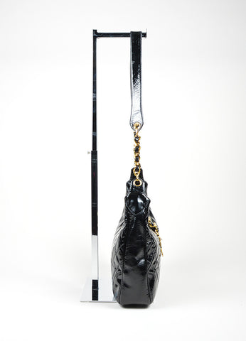 Black Patent Leather and 18K Gold Plated Chanel 'CC' Chain Tab Cross Body Bag Sideview