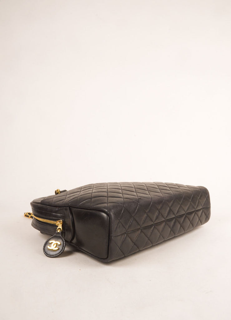 Chanel Black Quilted Leather Chain Strap Shoulder Bag Bottom View
