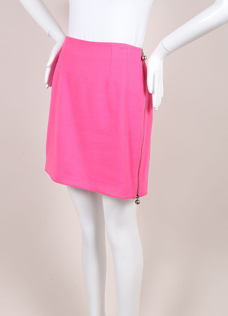 Claude Montana Pink and Silver Toned Wool Mini Skirt Sideview