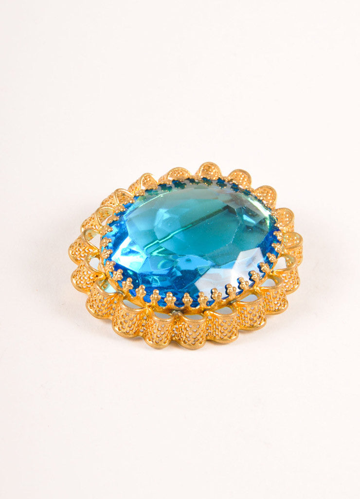 Vintage Gold Toned and Blue Faceted Gem and Metal Filigree Oval Pin Brooch Sideview
