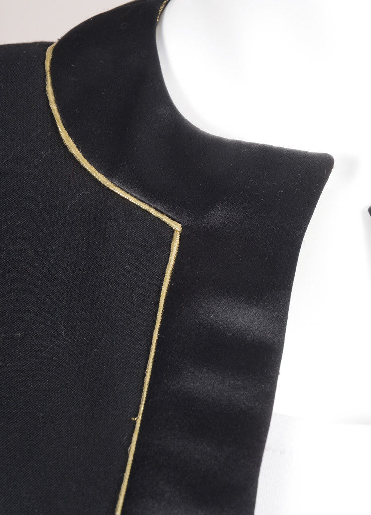 Valentino Black and Gold Metallic Silk and Wool Blazer Jacket Detail