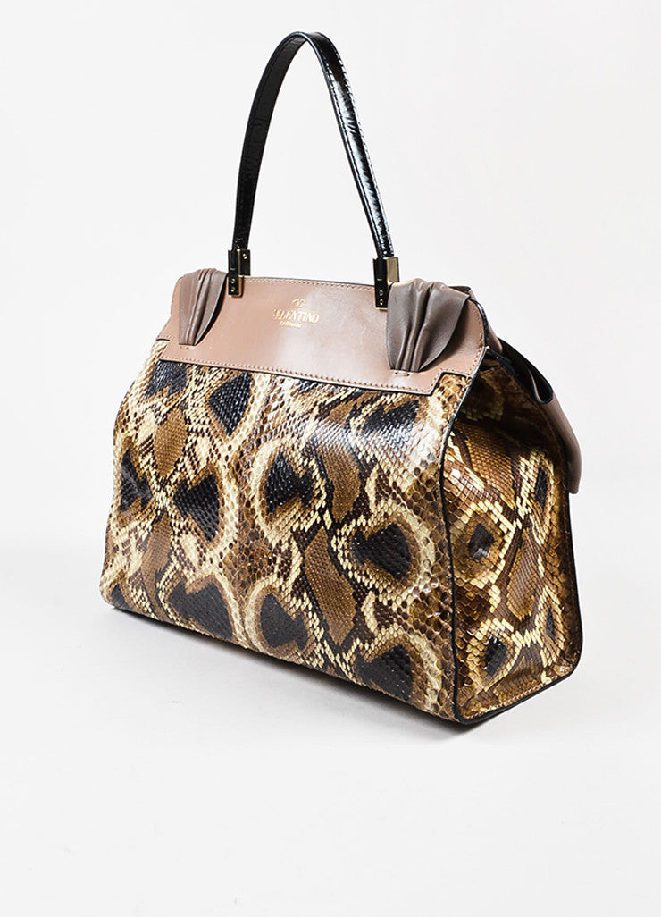 "Valentino Garavani Taupe and Black Python and Leather ""Aphrodite"" Satchel Bag Sideview"