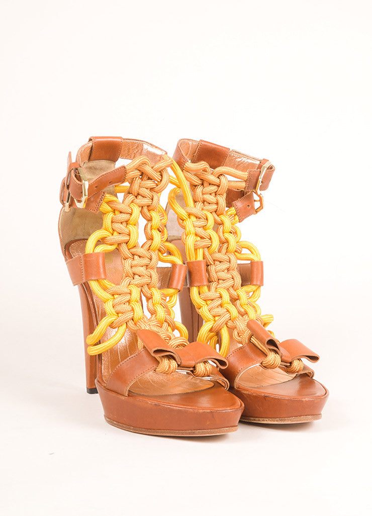 Viktor & Rolf Brown and Yellow Leather Rope Platform Sandals Frontview