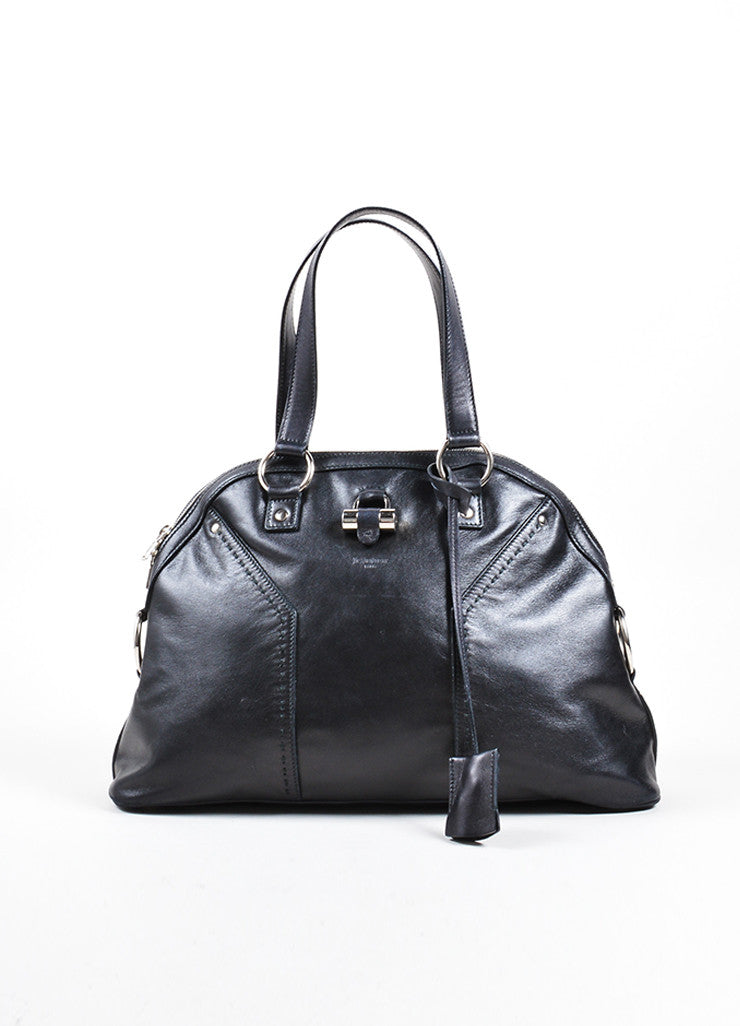 "Yves Saint Laurent Black Leather ""Muse"" Tote Bag Frontview"