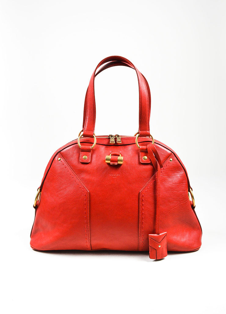 "Red Yves Saint Laurent Leather ""Muse"" Tote Bag Frontview"
