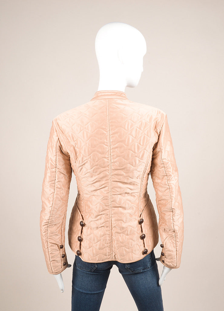 Yves Saint Laurent Light Pink Quilted Long Sleeve Jacket Backview