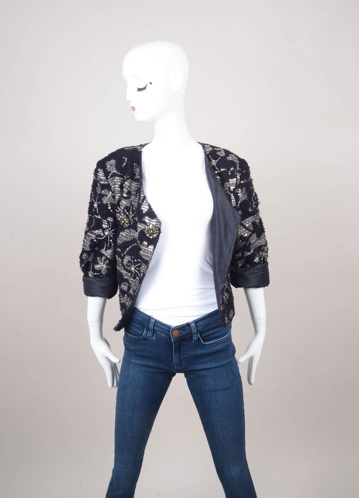 New With Tags Navy and Silver Embellished Blazer