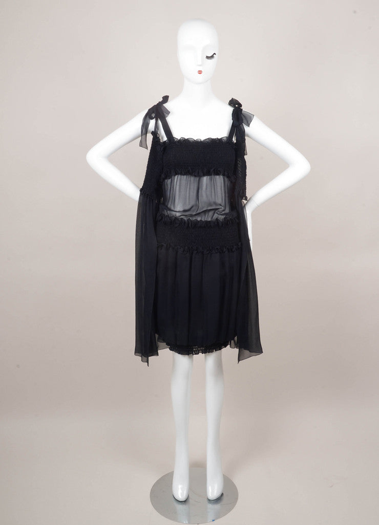 Navy Silk Sleeveless Smocked Ruffle Dress With Cover Up