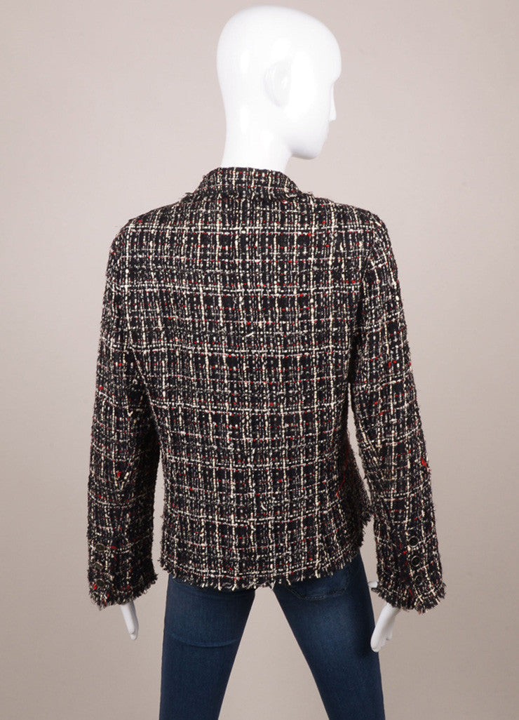 Chanel Black, White, and Red Tweed Long Sleeve Jacket Backview