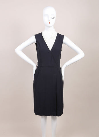 "A.L.C. New With Tags Navy and White Contrast Sleeveless Wrap ""Kweli"" Dress Frontview"