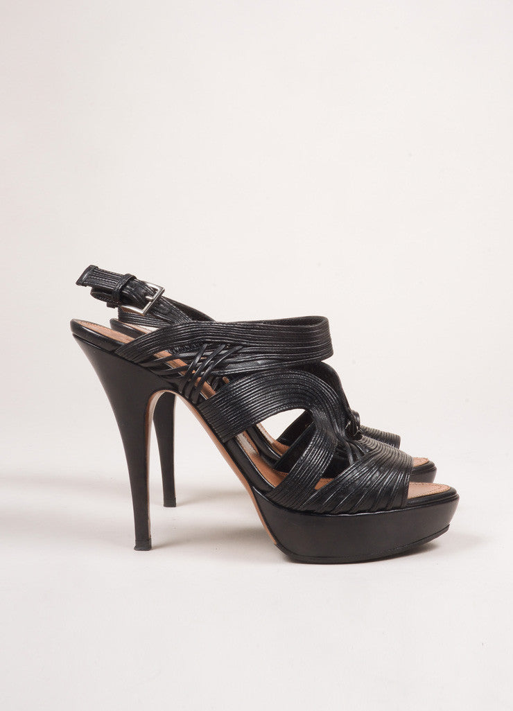 Alaia Black Leather Strappy Platform Sandal Heels Sideview