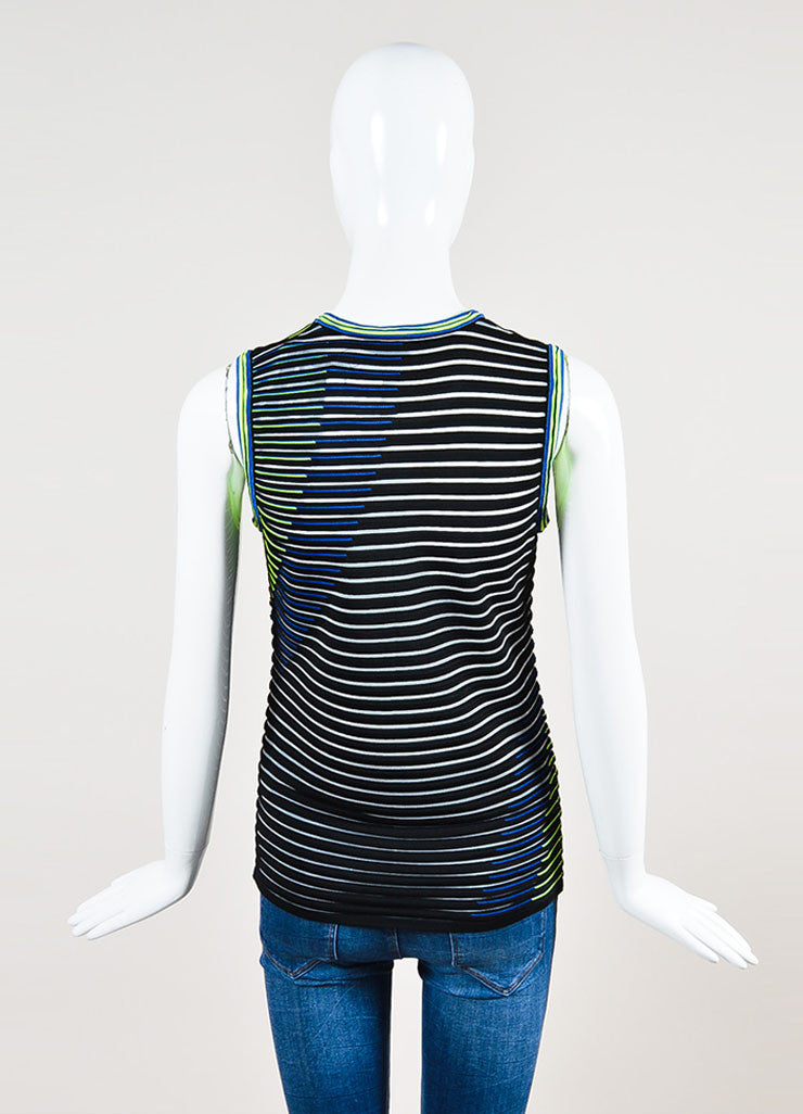 Alexander Wang Black, Neon Yellow, and Blue Sleeveless U-Neck Top Backview