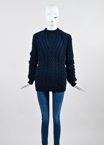 "Navy Blue Altuzarra Wool Chunky Knit ""Lee"" Pullover Sweater Frontview"