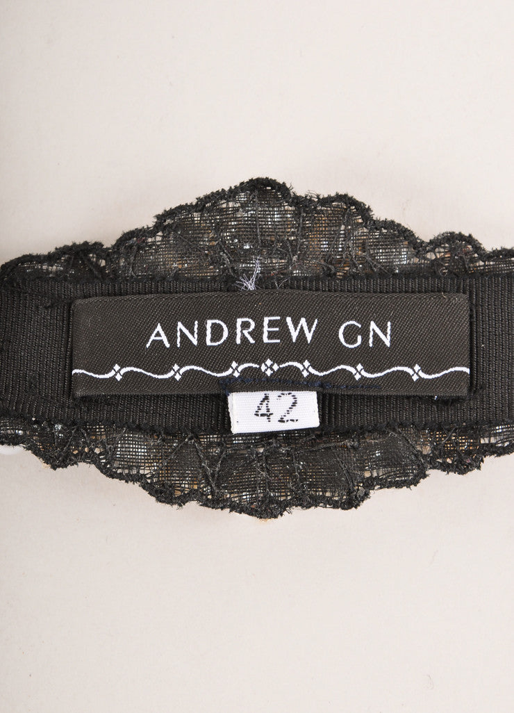 Andrew Gn New Black, Cream, and Clear Faux Pearl and Rhinestone Grosgrain Belt Brand