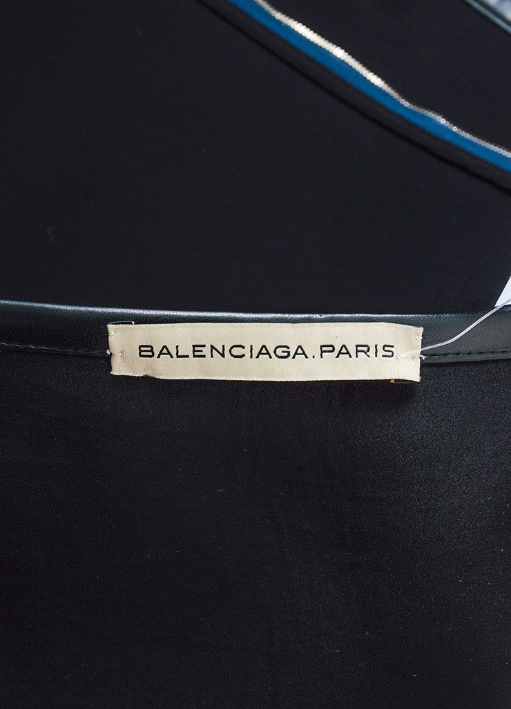 Grey, Navy, and Black Balenciaga Wool Silk Leather Trim Layered Flap Short Skirt Brand