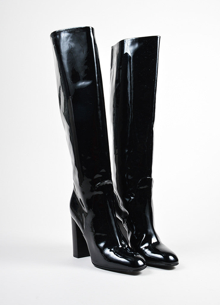 Black Bottega Veneta Patent Leather Knee High Block Heel Boots Frontview