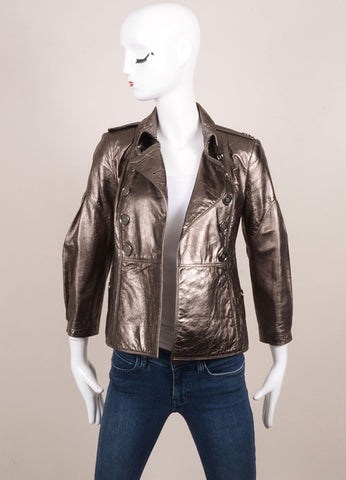 Burberry Gunmetal Lambskin Leather Double Breasted Short Jacket Frontview