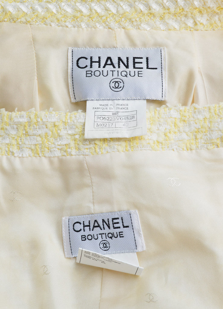 Chanel Yellow and White Woven Tweed Skirt Suit Brand