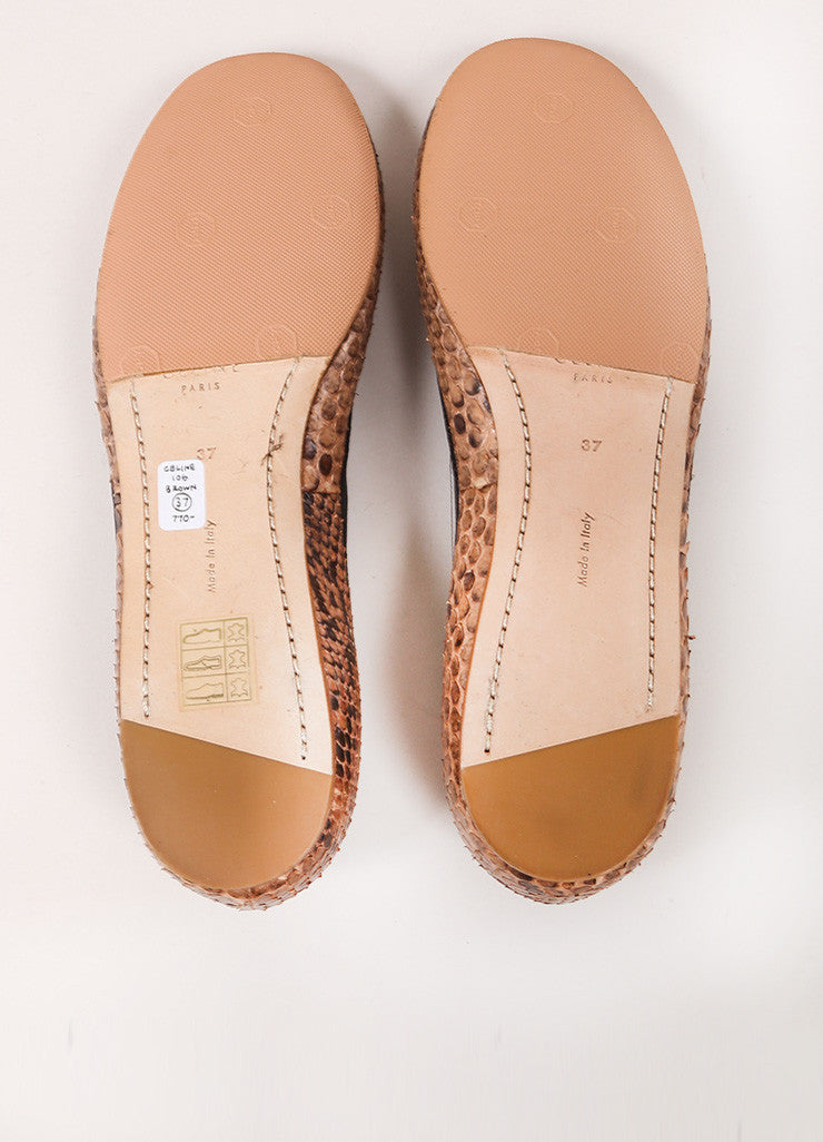 Celine Brown and Black Snakeskin Round Toe Flats Outsoles