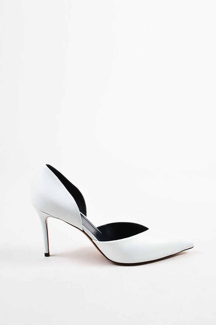"Celine ""Optic"" White Leather Pointed Toe 90mm D'Orsay Pumps Sideview"