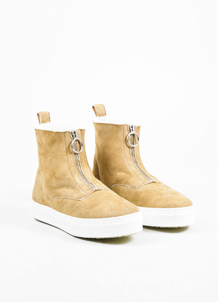 Celine Camel Suede Shearling Lined Zipper High Top Sneaker Boots Frontview
