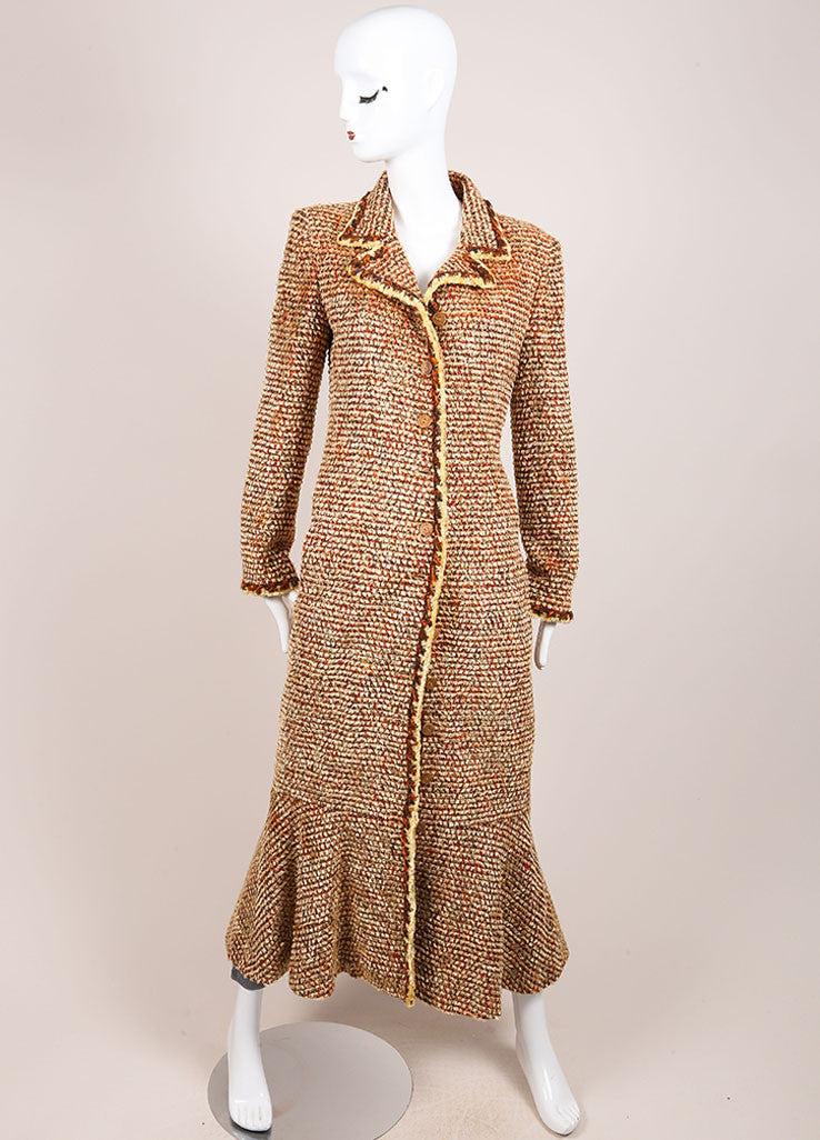 Chanel Tan, Orange, and Brown Woven Knit Long Sleeve Duster Coat Frontview
