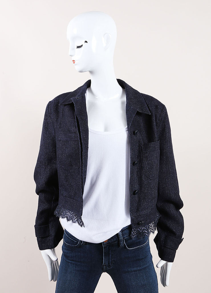 Chanel Dark Blue Lace Trim Jacket Front View