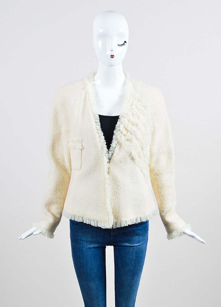 Cream Chanel Wool Tweed and Silk Ruffle Detail V-Neck Blazer Frontview 2