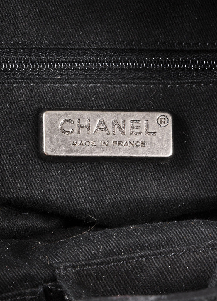 "Chanel Black Caviar Leather Diamond Stitched ""CC"" Logo Chain Detail Hobo Bag Brand"