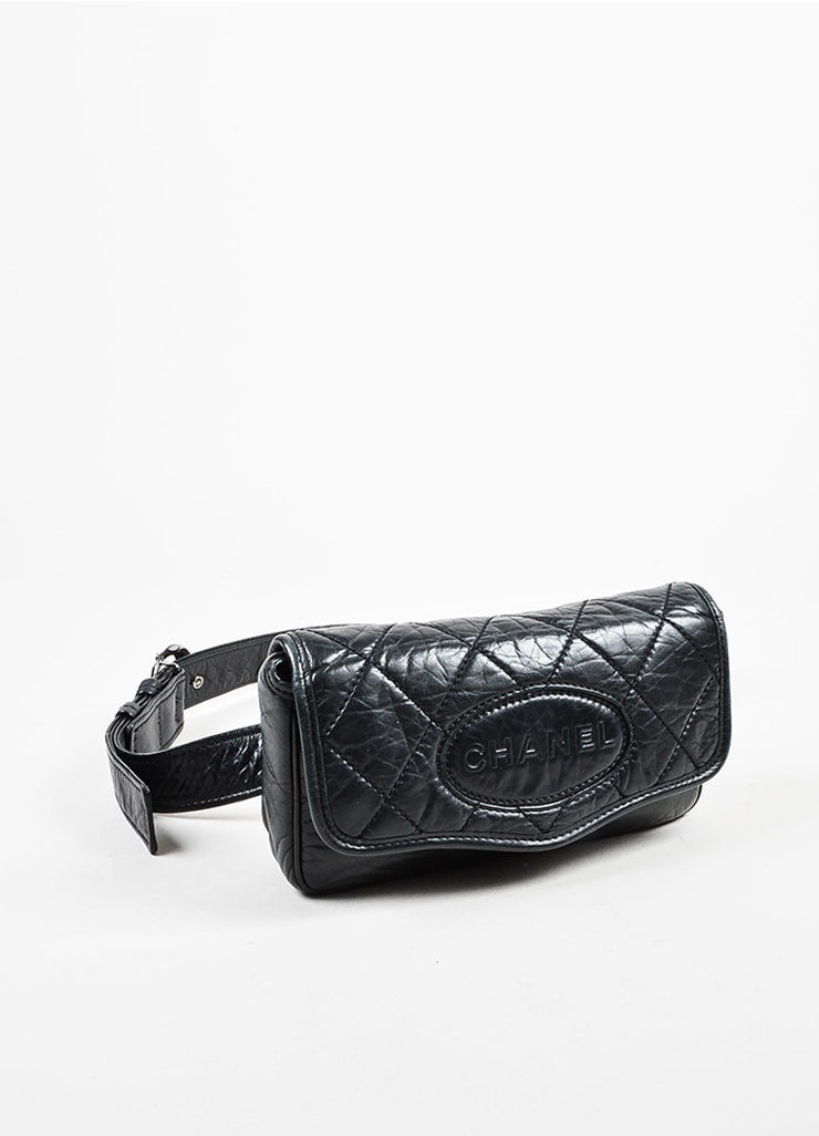 Black Chanel Leather Quilted 'CC' Logo Strap Crossbody Bag Sideview