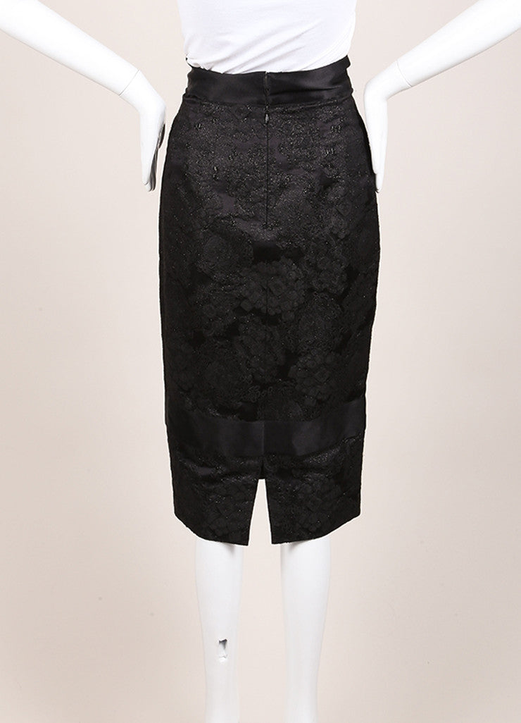Chanel Black Wool and Silk Floral Brocade Embroidered Pencil Skirt Backview