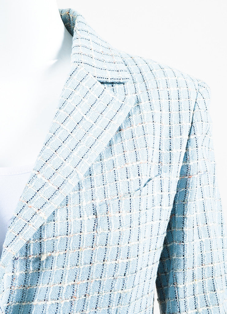 Chanel Light Blue and Multicolor Wool Tweed Plaid Collared Jacket Detail