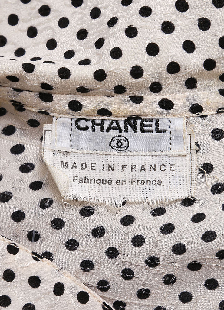 Chanel Cream and Black Silk Jacquard Polka Dot Print Blouse Top, Skirt and Scarf Set Brand 3