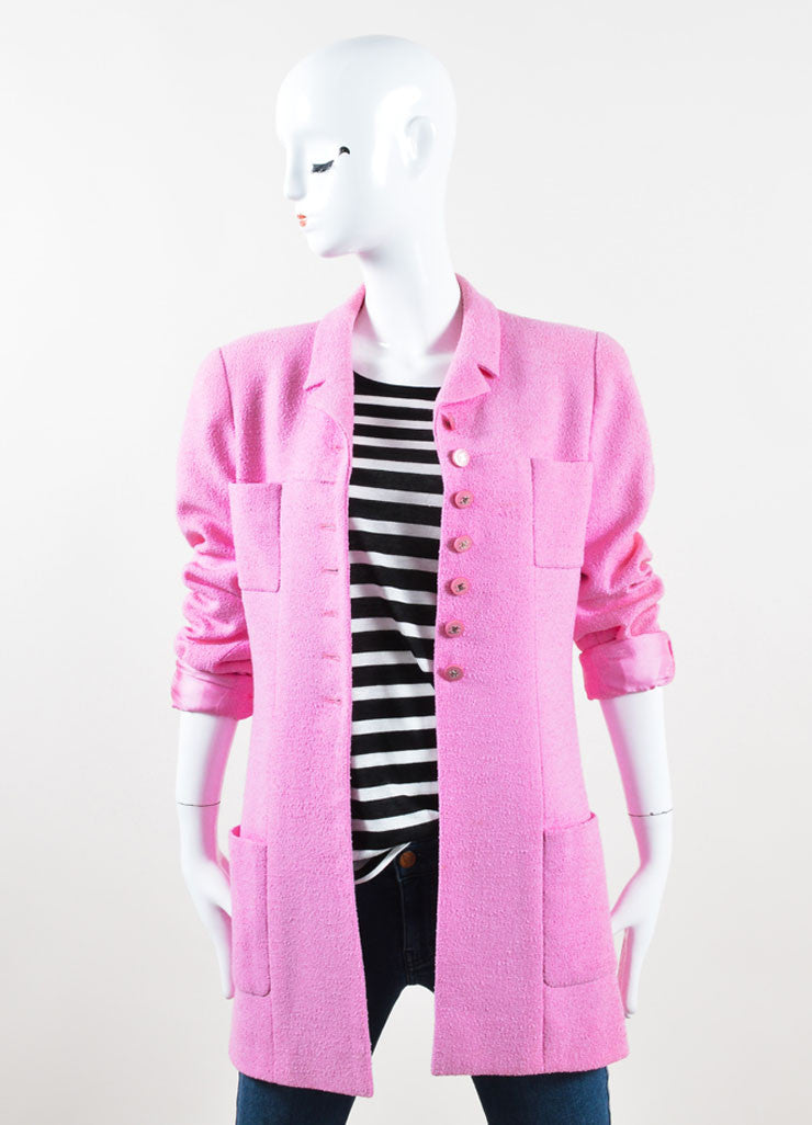 "Chanel Pink Knit ""CC"" Button Coat Frontview"
