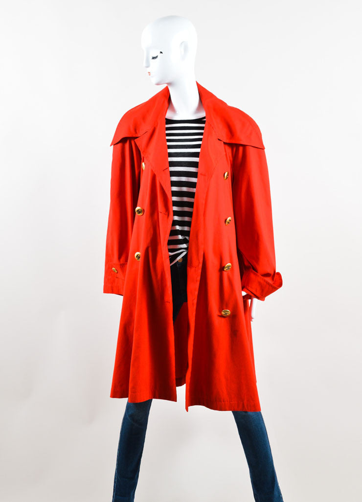 "Chanel Red and Gold Toned ""CC"" Button Trench Coat Frontview"