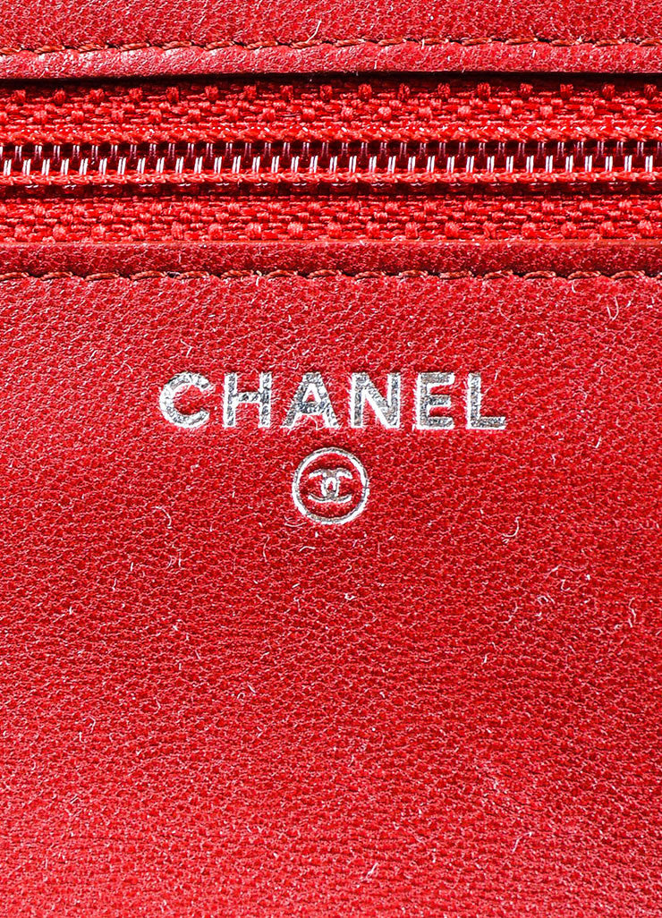 Red and White Leather Chanel Reissue Wallet On Chain Brand