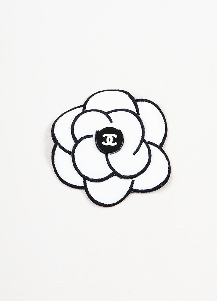 Chanel White and Black Two Tone 'CC' Logo Camellia Flower Hair Comb Pin Frontview