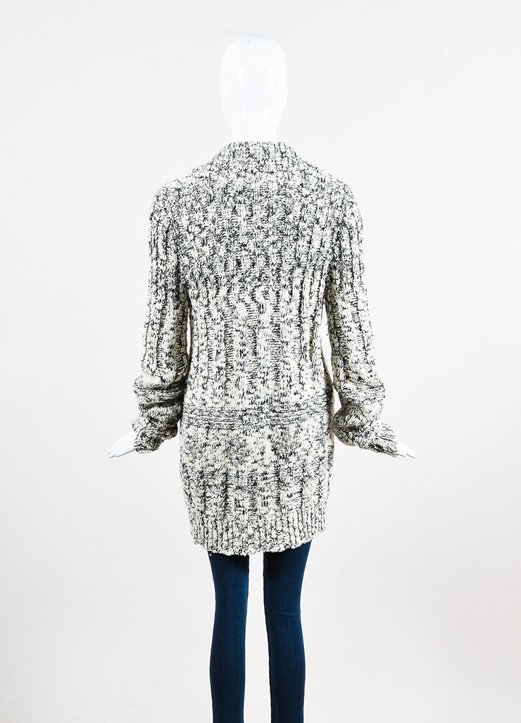 Chanel White and Black Wool Blend Knit Rhinestone Embellished Cardigan Backview