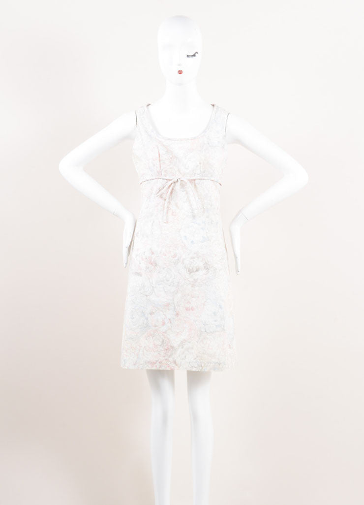 Chanel White, Blue, and Pink Floral Print Empire Waist Sleeveless Cotton Dress Frontview