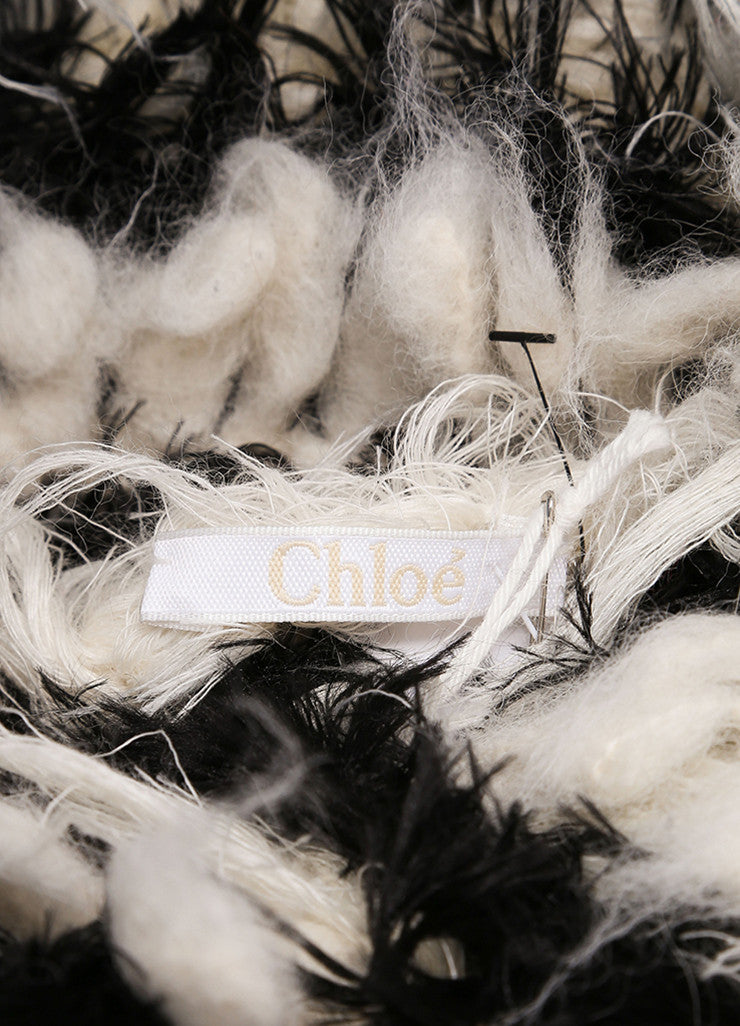 Chloe New With Tags Black and Cream Mohair and Alpaca Striped Shaggy Pullover Sweater Brand