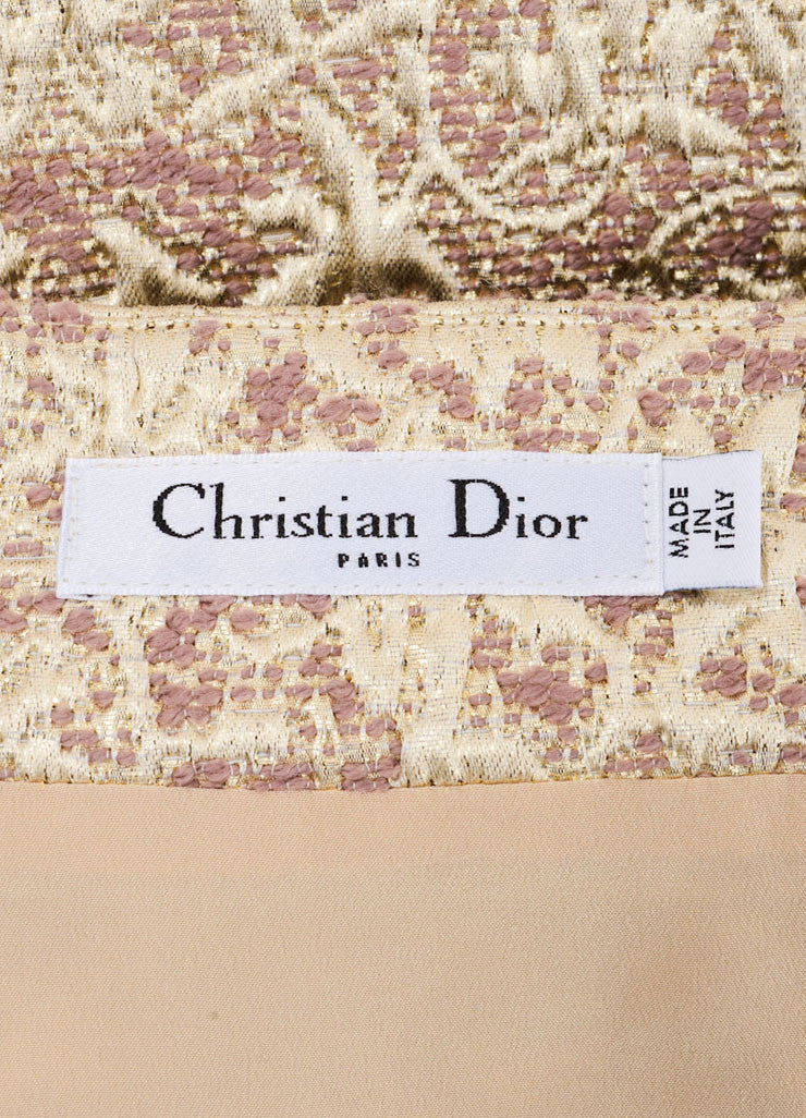 Christian Dior Gold, Silver, and Mauve Wool and Silk Metallic Brocade Wrap Skirt Brand