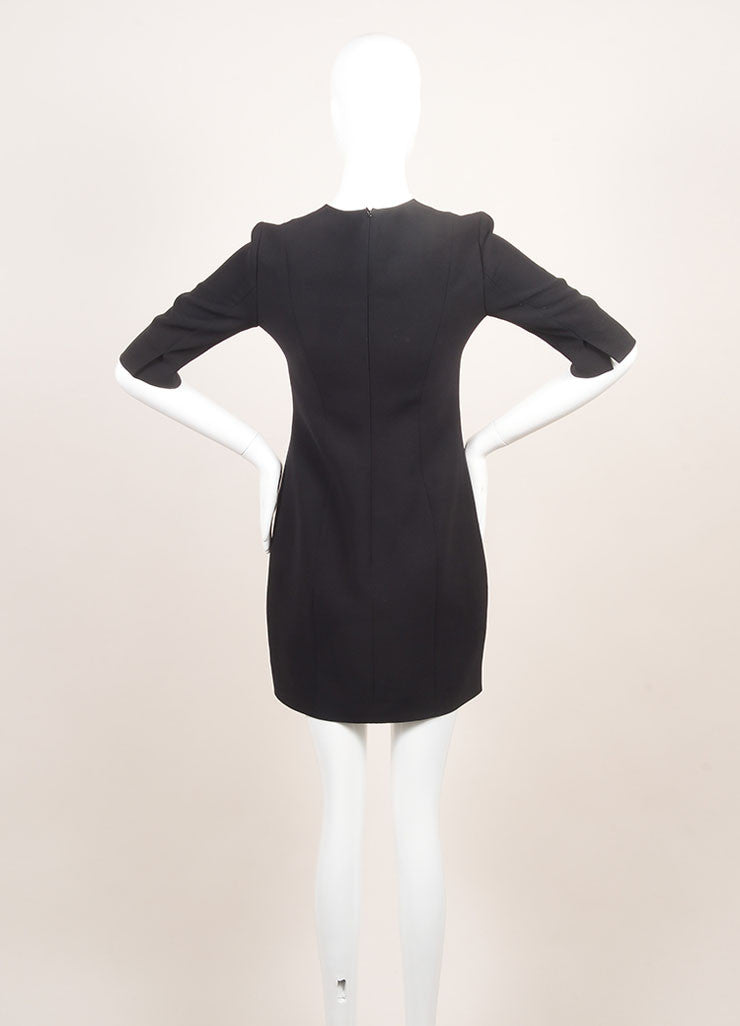 Christian Dior New With Tags Black and Cream Silk and Wool Color Block Short Sleeve Sheath Dress Backview